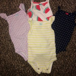 (4) Carter's NB thin strap onesies